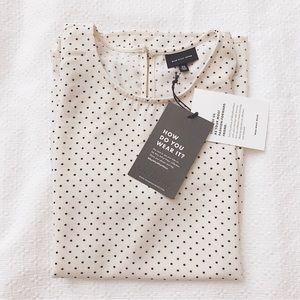 BNWT whowhatwear white polka dot top blouse XS